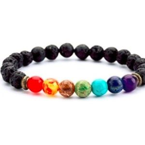 "💰Gemstone Chakra Lava Stone Diffuser Bracelet 7"""